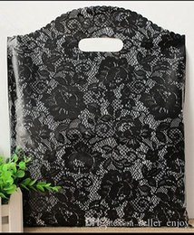 100pcs 20*26cm Small Black lace Plastic Black Bag , Shopping Jewelry Packaging Plastic Wedding Gift Bags sexy