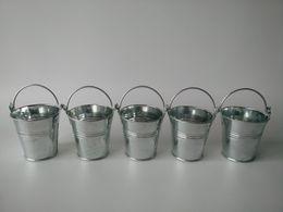 D7XH7CM Mini Buckets Metal Succulents pot Tin Box Kids Tin Pails Favor Holder Candy Box Silvery
