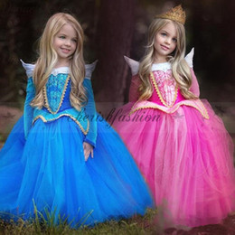 Wholesale Children Kids Sleeping Beauty dress girl tutu skirts Princess Aurora Fancy Dress Xmas Costume Pretty Baby belle dress Cosplay dress M474 B