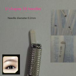 100 PCS white U18 Permanent Eyebrow Makeup Manual Tattoo Bevel Blades 18 Needles