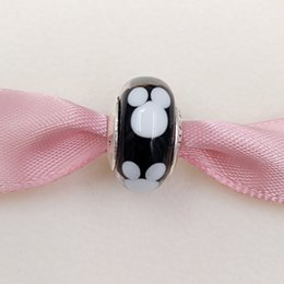 Wholesale Authentic Sterling Silver Beads Disny Classic Mickey Charm Fits European Pandora Style Jewelry Bracelets Necklace murano glass