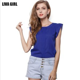 Wholesale 2017 New Fashion Summer Women Plus Size Loose Sleeveless Round Collar Chiffon Shirt Blue Yellow Woman Casual Blouse T-shirt