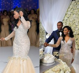 Wholesale Shining African Mermaid Wedding Dresses V Neck Long Sleeves Crystal Beaded Tulle Plus Size Wedding Dresses Luxury Bella Naija Bridal Dresses