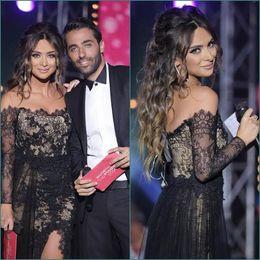 Wholesale 2017 Sparkly Black Lace Prom Dresses Off The Shoulder Arabic Dress Sheer Long Sleeve Formal Party Dresses Vestidos de baile