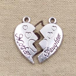 Wholesale Cents Charms heart mother daughter puzzle mm Antique Making pendant fit Vintage Tibetan Silver DIY bracelet necklace