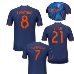 Wholesale 2016 New York City Soccer Jerseys PIRLO MIX DAVID VILLA LAMPARD Away Blue Maillot De Foot NYCFC Jersey football shirts