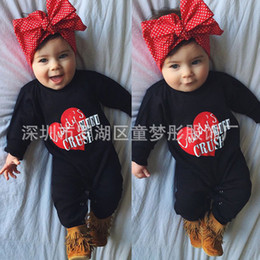 Argentina 017 Ins Manga Larga Hot Daddy Mini Rompers Baby Red Heart Jumpsuit BodySuit Pijamas Recién Nacidos Suministro