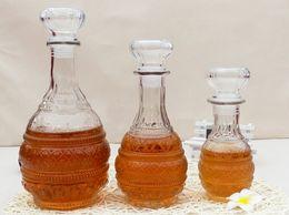 Promotion verre bouchons de vin 1PC Nouvelle haute qualité 500ml 1000ml bouteille en verre de verre de verre de whiskey de cristal avec le décanteur J1086 de barre de boissons de bouchon de bouchon