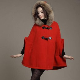 Wholesale 2017 new fashion Autumn Winter High quality Batwing Sleeve coats Real fur collar woollen shawl Blends Cape hooded Wool coats
