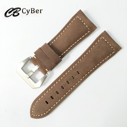 Cbcyber men's Watchbands Genuine Leather Brown Men 20mm 22mm Soft Watch Band Strap Metal Pin Buckle Accessories for Panerai