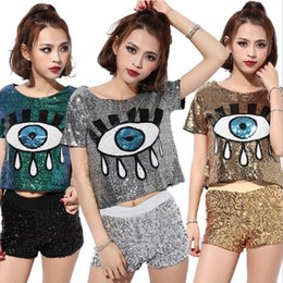 New Sequin Hip-hop Tops Big Eyes Printed Jazz DS Costume Performance Wear Hiphop Paillette T-shirt Short Sleeve Crop Top