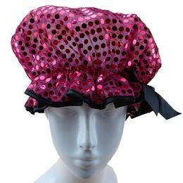 Cheveux amicale à vendre-Sequins bonnet de douche en rose, bouchons de vente chaude chapeau de douche de mode avec paillette, bonnet de douche d'environnement capuchon de cheveux bouchons d'oreille de douche