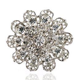 2 Inch Vintage Style Rhodium Silver Plated Clear Rhinestone Crystal Diamante Flower Brooch Wedding Bouquet Pins