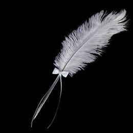 Vente en gros-MYLB- Bowknot Pen Signage de mariage Pen plume d'autruche blanc avec Diamante à partir de mariage des stylos plume gros fournisseurs