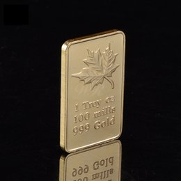 Wholesale New One Troy Ounce Mills Fine gold Plated Canada Maple Leaf Bullion Bar gold Clad Gifts Crafts
