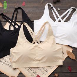 GUIYI Three Colors A Piece Ladies Anti-exposure Seamless Underwear cross back one-piece Thin Bra Wrap Chest bra