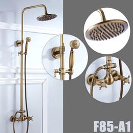Bathroom Antique Brass Shower Faucet Rainfall Shower Head With Hand Shower Mixer Taps