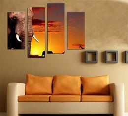 Wholesale LK401 Panel Canvas Paintings Elephant Animal Modern Wall Art Decoration African LandscapeCanvas Wall Art For Home Bar Hub Kitchen Unfram