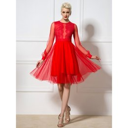 Nouvelle Arrivée Adoration Red Prom Dress A-Line Jewel Illusion Long Sleeve Dentelle Zipper Genou Longueur Real Pictures Robes de soirée sexy à partir de fabricateur