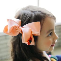 Promotion accessoires de cheveux pour les bébés filles Filles grandes Bow Headbands Enfant enfants Princesse Headwear Babies Coréen ruban Arcs Barrettes 2017 Enfants Accessoires Cheveux A0267