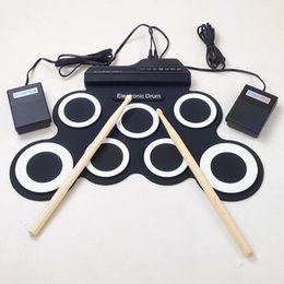 Promotion batterie électronique pad ensemble Vente en gros-Professional 7 Pad numérique portable en silicone pliable musical rouleau de batterie électronique pad K Set avec bâton