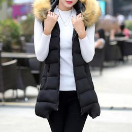 Desconto women s faux fur vest Hot Sales Mulheres Winter Vest Faux Fur Collar Casaco com capuz quente Waistcoat Lady All-Match Casacos Long Vest casaco sem mangas XM0087