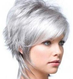 Charm Women's Silver Gray Short Full wigs Synthetic Hair Wigs