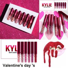 Wholesale 2017 New Kylie Jenner lipgloss Valentine Edition beautiful Set Kylie Lipstick Liquid Matte Lip gloss Valentine Gift