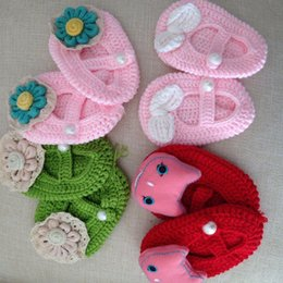 2017 New design Crochet Cotton Baby Crochet Shoes Baby Knitted Footwear Toddler shoes 0-12M First walkers shoes