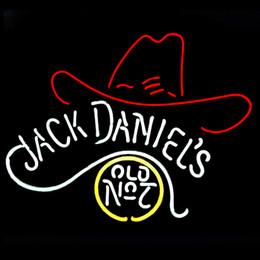 Promotion signes de cow-boy Mode Nouveau Handcraft Vieux No.7 cowboys de chapeau de véritables tubes en verre de verre de Pub de bière affiche de néon 19x15! La meilleure offre!