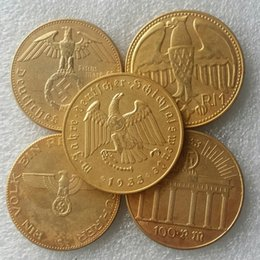 Wholesale German A set of third Reich Hitler Gold plated copy coins Promotion Cheap Factory Price nice home Accessories Silver Coin