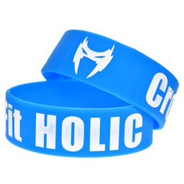 Wholesale 50PCS Lot CrossFit Holic Silicone Bracelet 1 Inch Wide for Fitness Promotion Gift Adult Size