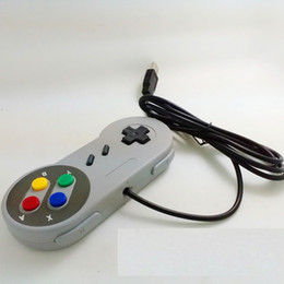Joystick usb ps2 online-Venta al por mayor de juegos retro para SNES USB cableado controlador de joystick Gamepad clásico para PC de Windows Seis botones digitales wa3021