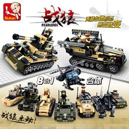 Wholesale 8 in1 Building Military Blocks Aircraft Carrier airplane ship Bus tank police city Model Kids Toys Gifts Compatible with legoe