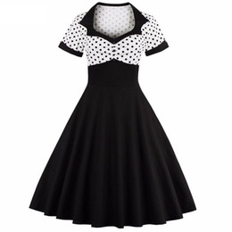 Women Summer Polka Dot Vintage Dress Fashion Party And Sweetheart Square Neck Defined Waist Big Swing Dress Tunic Dress Vestidos DK3032MX