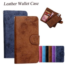 Wholesale For iPhone PU Leather Flip Cover Case Hybrid in Removable Back Cover Magnet Case Card Slot For iPhone S Samsung S7 S6 Edge SCA244