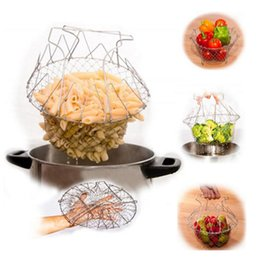 Wholesale Foldable Fry Basket Steam Rinse Strain magic basket mesh basket Strainer Net Kitchen Cooking Tool Steam Rinse Strain Fry Chef Strainer Net