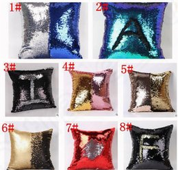 Wholesale Cushioned Car Covers - Double Sequin Pillow Case cover Glamour Square Pillow Case Cushion Cover Home Sofa Car Decor Mermaid Bright Pillow Covers