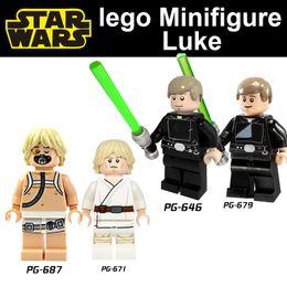 Wholesale POGO Star Wars Luke Skywalker mini action figure With lightsaber Building Blocks toys plastic dolls diy kid build block legosets
