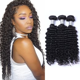 Deep Wave Peruvian Remy Human Hair Extensions 100% Human Hair Weave Bundles Natural Black Color 3 Piece 8A Best Hair Products Dyeable