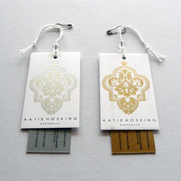 Custom clothing tags (1 set, 2 cards) Hang tags printing high quality Swing tags with string & pin attached Hangtags PMS colors printed