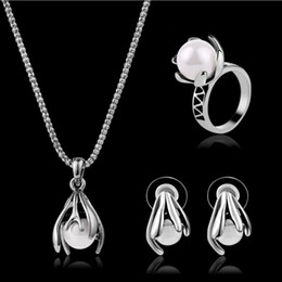 Wholesale Jewelry Set Earrings Necklaces Rings Vintage Luxury Quality Pearls Antique Silver Plated Flowers Wedding Jewelry Piece Set JS324