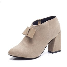 Suede Women Shoes 2017 Fashion High-heeled Women Boots High 6CM Woman Shoes Normal Size 34-39 Retro bow Boots