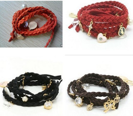 Fashion charm bracelets strands Crown shell pearl multi-layer weave strawberry Charm bracelets For Women Gifts pw6