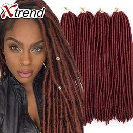 Descuento rastas tejen 18 '' 24roots locos del faux crochet Trenzan el pelo negro de los dreadlocks Trenzado sintético barato kanekalon Faux Locs que teje extensiones del pelo