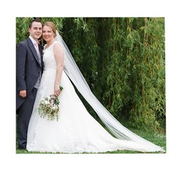 2017 Hot White Ivory Bridal Veils One Layer Floor Length Cheap All Match Simple Applique Tulle Veil
