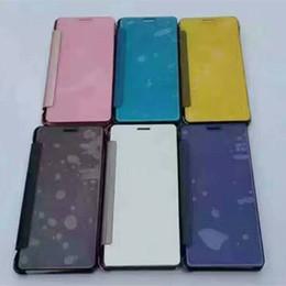 Plaque d'écran à vendre-Pour Samsung S6 S7 bord S8 Plus Hybrid Leather + Hard Plastic Plating Case Smart View Clear Mirror Screen back Cover case