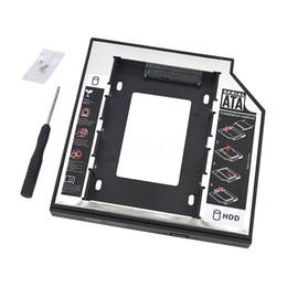 """Compra Online Una caja portadiscos disco-Venta al por mayor Universal 2.5 """"de aluminio SATA Segunda 2 ª SSD HDD disco duro HD Driver Caddy 12.7mm External Case Optical Bay para Laptop"""