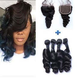 Indian Virgin Hair Loose Wave with Closure Color #1B Raw Virgin Indian Human Hair 4 Bundles With Lace Closure Sexy Curly Virgin Hair
