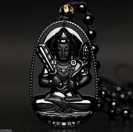 100% Natural black Obsidian hand Carved Bodhisattva Akashagarbha Buddha pendant